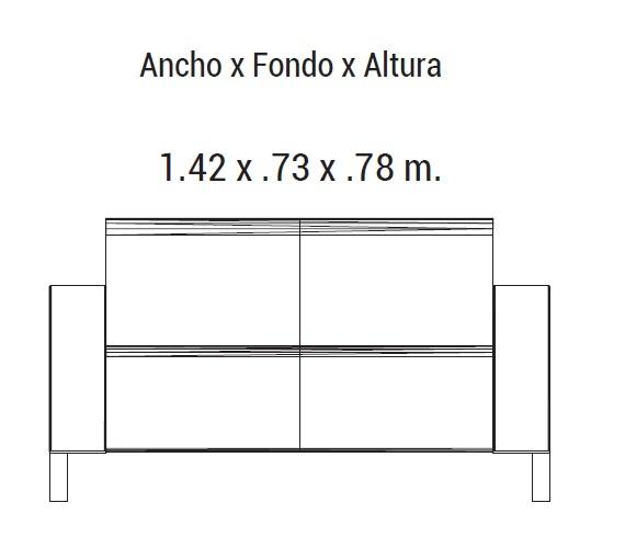 Sofa element piel 2 plazas intermueblespacios for Sofa 5 plazas medidas