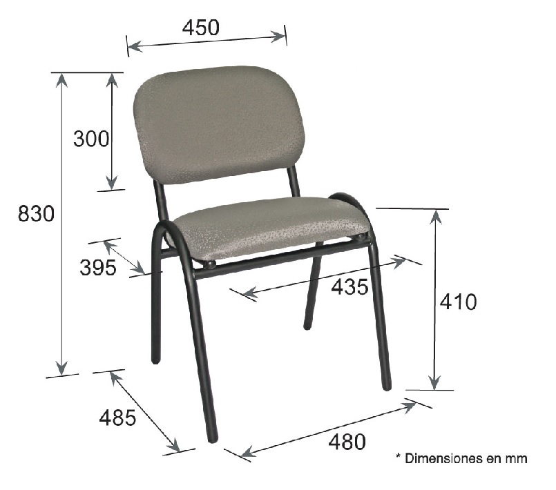 Silla stack ohv 72 intermueblespacios - Medidas silla ...