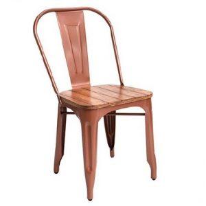 Silla Lyon Metalica asiento en Madera  (Tolix) cobre