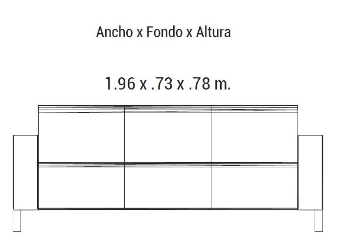 Sofa element piel 3 plazas intermueblespacios - Medidas sofa 3 plazas ...